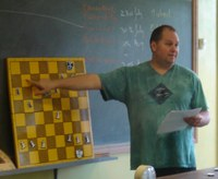 Mark Newman reviews a prior session during the 2005 UCU Master Classes