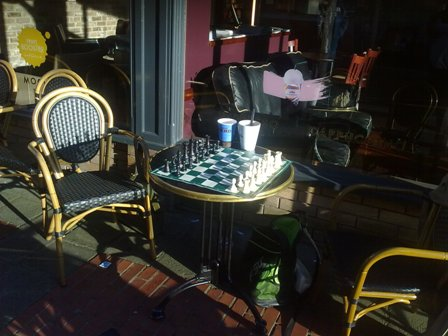 Cafe chess fun and social - a table waiting for you....at Cafe Nero