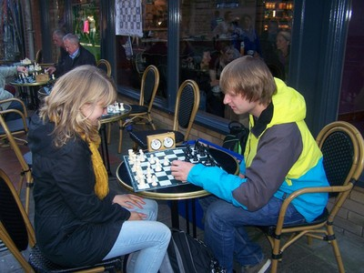 Enjoying a game of Chess at Cafe Nero, Belfast