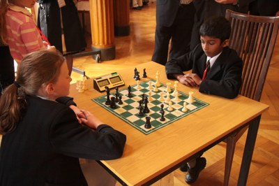 Lucia Corrigan plays Taran Rajan in the Primary School Stormont Elite 2012.