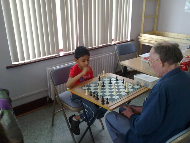 Geoff coaching one of the Younger Students