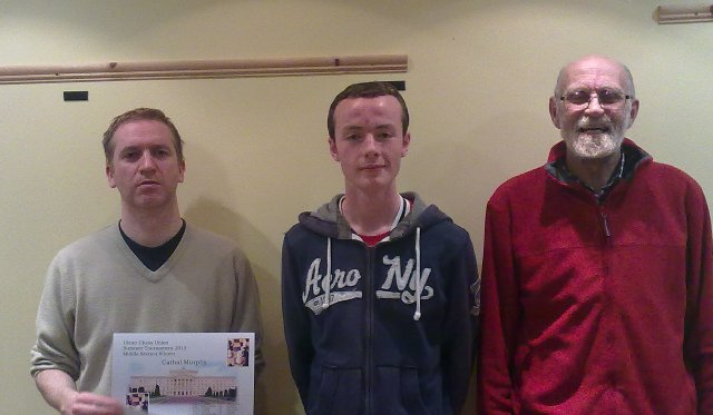 David Seaby winner of lower section Cathal Murphy winner of middle section Matthew Chapman Second Overall
