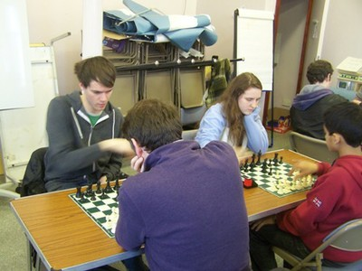 Calum Leitch and Karina Kruk concentrating on the game