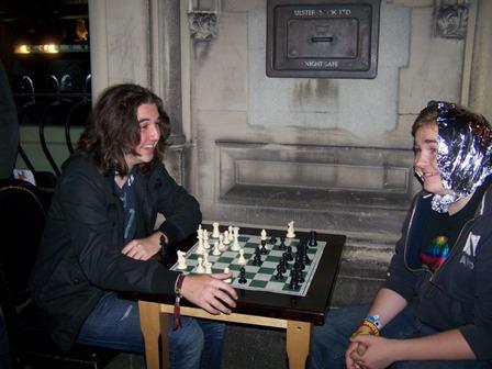 Young chess playing enjoying a game