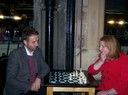 Naomi Long MP playing Chris Lyttle MLA