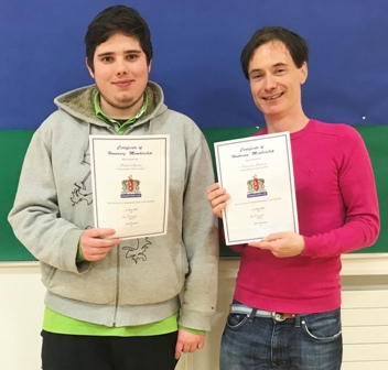 Michael Sheerin (left) and Brendan Jamison (right) with their certificates of honorary membership of Bangor Chess Club
